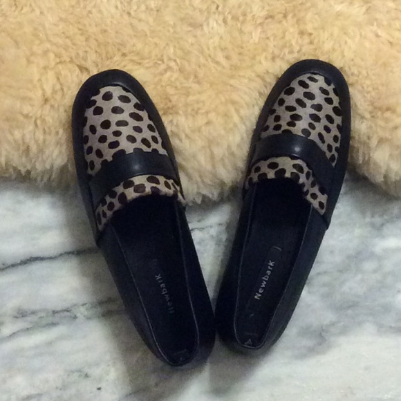 8b350590429 NIB Newbark Leather and Calf Hair Loafers